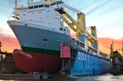 Freighter in the floating dock Royalty Free Stock Images