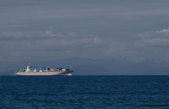 Freighter on Juan de Fuca straits Royalty Free Stock Image