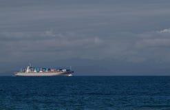 Freighter on Juan de Fuca straits Royalty Free Stock Image