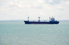 Freighter in the Kerch Strait Royalty Free Stock Photo