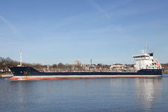 Freighter on Kiel Canal Royalty Free Stock Image