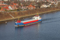 Freighter on Kiel Canal Royalty Free Stock Photography