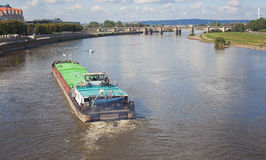 Freighter on Lake elbe in Dresden Stock Photo