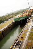 Freighter in Panama Canal Royalty Free Stock Photography