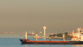 Freighter sails in the strait of Bosporus stock video