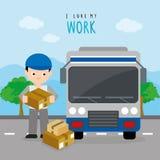 Freighter Service Delivery Carton Box Truck Car Boy Cartoon Character Vector. Design Royalty Free Stock Photos