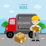 Freighter Service Delivery Carton Box Truck Car Boy Cartoon Character Vector. Design Royalty Free Stock Images