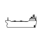 Freighter ship boat. Illustration graphic design Stock Images