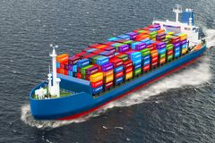Freighter ship with cargo containers sailing in ocean, 3D render. Freighter ship with cargo containers sailing in ocean Stock Image