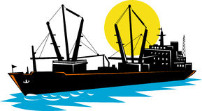 Freighter ship with moon. Vector illustration of a freighter with moon in the background Royalty Free Stock Images