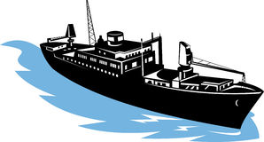 Freighter ship with moon. Vector illustration of a freighter with moon in the background Stock Photo