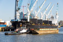 Freighter in the south west harbor basin in the Hamburg Royalty Free Stock Photo