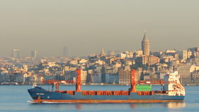 Freighter in the strait of Bosporus stock video footage