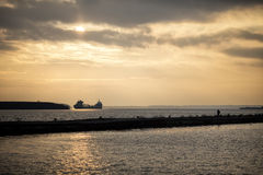 Freighter Sunset Lake Superior Royalty Free Stock Photo