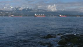 Freighters at Anchor, English Bay 4K UHD stock video footage