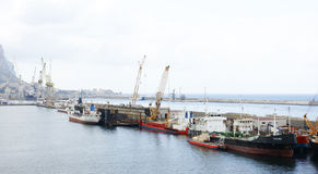 Freighters dock port of Palermo Stock Photos
