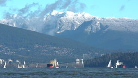 Freighters and Sailboats in English Bay stock video footage