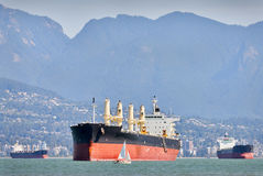 Freighters and Sailboats, Vancouver Royalty Free Stock Photos
