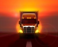 Freightliner columbia lastbilflyttning som är snabb på vägen Royaltyfria Bilder