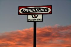 Freightliner truck sign. Freightliner trucks is an American truck manufacturer. stock photo