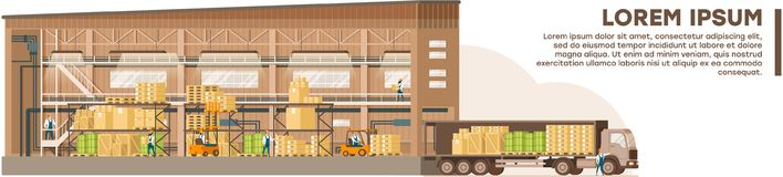 Freights Saving and Delivering Vector Banner stock illustration