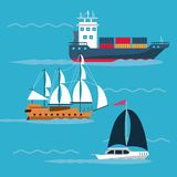 Freigther boats at sea. Icon vector illustration graphic design Royalty Free Stock Photo