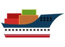 Freigther-Boot mit Behältern lokalisierte Ikone auf weißem Hintergrund Stockfotos