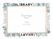 Freihändige Bleistiftskizze des Bibliothekswortalphabet-Bilderrahmens Lizenzfreies Stockfoto