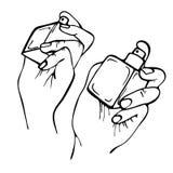 Freihändige lineare Tintenhände, die Parfüm sprühen Stockfotografie