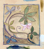 Freihändiger Blumenwatercolour Stockbilder