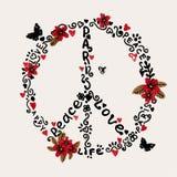 Freihändiger Frieden, Liebe, Paris-Illustration mit Blumen Stockbild