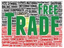 Freihandelwortwolkenform Stockfotografie