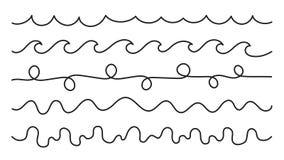 Freihandzeichnenzeichnungs-Wellenvektorhintergrund Lizenzfreies Stockfoto