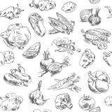 Freihandzeichnenzeichnungsgemüse. Nahtloses Muster Stockbild
