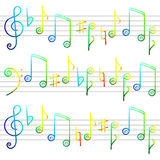 Freihandzeichnenzeichnungshintergrund der musikalischen Anmerkungen Lizenzfreie Stockfotos