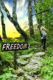 Freiheit Arrowed-Holzschild im Wald mit Person und Sonnenuntergang stockfotos