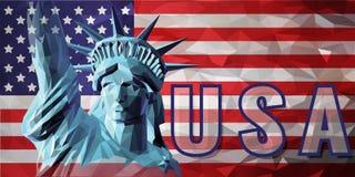 Freiheit in der niedrigen Polyart auf USA-Hintergrund Lizenzfreie Stockfotos