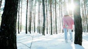 Freiheit, glückliches Mädchen, das in den Winterwald, hintergrundbeleuchtet, Glück, Flirt der jungen Frau, untersuchend die Kamer stock video footage