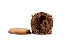 Freiheitdollarmünze mit Vierteln und Nickel Lizenzfreie Stockfotos