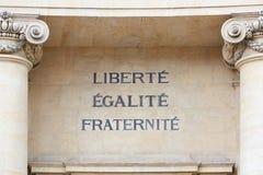 Freiheits-, Gleichheits- und Fraternity-Wörter, französisches Motto Stockbilder
