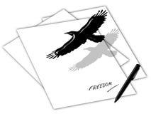 Freiheitskonzept durch den Vogel, der über das Papier fliegt Stock Abbildung