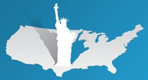 Freiheitsstatue auf der Karte von Amerika Lizenzfreies Stockbild