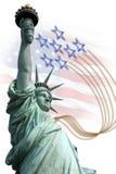 Freiheitsstatue auf Insel in New York mit Flagge Stockfotos