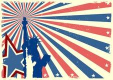 Freiheitsstatue auf patriotischem grungy Explosionshintergrund Stockfoto