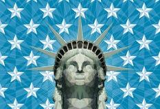 Freiheitsstatue in den geometrischen Dreiecken Lizenzfreie Stockfotos