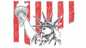 Freiheitsstatue die Handgezogene B?rste, die mit USA-Flagge skizziert vektor abbildung