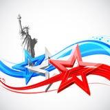 Freiheitsstatue mit amerikanischer Flagge Stockbild