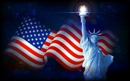 Freiheitsstatue mit amerikanischer Flagge Stockfotografie