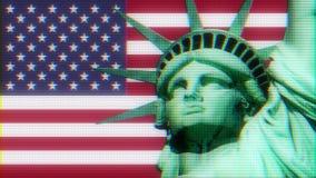 Freiheitsstatue mit USA-Flagge auf altem Computer lcd des nervösen Störschubs führte Schleifen-Animationsschwarzes der Rohrbildsc vektor abbildung