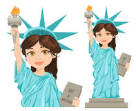 Freiheitsstatue u 4. Juli Unabhängigkeit Day Nette Karikatur stilisierte Charakter, volle Höhe und Nahaufnahme Lizenzfreies Stockbild